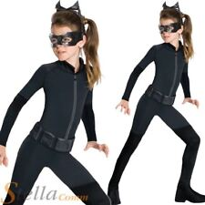 Girls Catwoman Costume Child Batman Dark Knight Halloween Fancy Dress Outfit