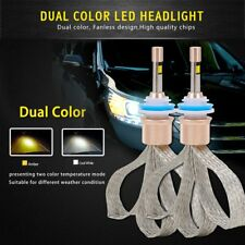 Dual Color H11 LED Headlight Switchback LED Bulbs Lamps 80W 11000LM White Amber