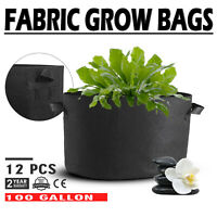 12 Pack 100 Gallon Fabric Plant Grow Bags With Handles Flood Trays Reusable