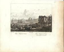 Stampa antica BAJA tempio di Venere Baia Bacoli Napoli 1834 Old print Engraving