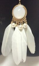 """Feather Dream Catcher Necklace White Gold 19"""""""