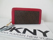 NWT DKNY SLGS Zip Around Wallet Coated Logo Brown - Red