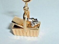 14K YELLOW & WHITE GOLD 3D PICNIC BASKET BUTTERFLY PENDANT CHARM