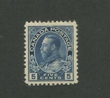 Canada 1914 King George V Admiral Issue Very Fine 5c Stamp #111 CV $300