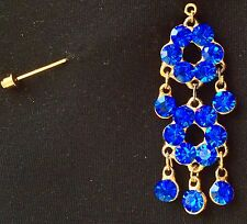 Hijab Scarf Pin Brooch Royal Blue Color Vibrant Color Design On Stick Pin