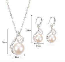 New Women Wedding Party Rhinestone Pearl Necklace Earrings Jewelry Set Gift
