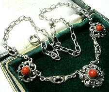 BEAUTIFUL ANTIQUE AUSTRO-HUNGARIAN 800 SOLID SILVER CORAL 1872-1922 NECKLACE