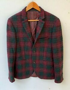 HARRIS TWEED x TOPMAN Mens Tartan Check Wool Jacket Blazer size UK 38 (M)