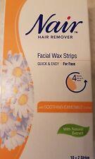 12 x NAIR Facial Wax Hair Removal Strips SOOTHING CAMOMILE Face/Lip/Chin
