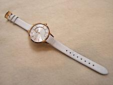 Hanowa Rose Gold Tone White Leather Thin Watch Swiss Made New Battery 16-6049