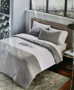 NEW Lacoste Crew Cut 3pc QUEEN Comforter Set - Grey