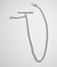 Solid Sterling Silver Pocket Watch Curb Albert Chain Fob .925 - Fa46