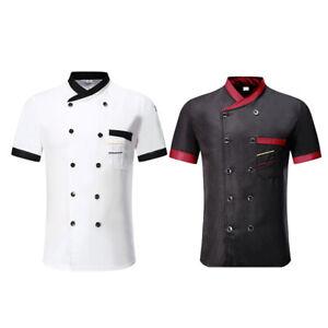 Mens Chef Coat Jacket Unisex Kitchen Short Sleeve Cooker Work Restaurant Uniform