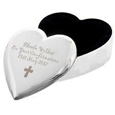 Personalised Cross Motif Heart Trinket Box - Free Laser Engraving-Religious Gift