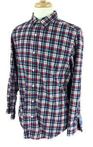 Banana Republic Men's Soft Wash Long Sleeve Navy Blue Red Check Shirt Large