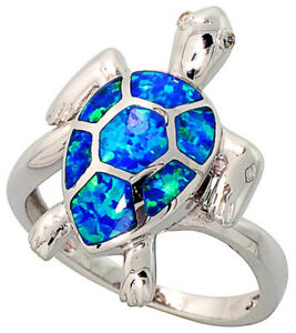 Women Sterling Silver Rhodium Plated, Simulated Opal Inlay Sea Turtle Ring 22mm