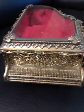 "Vintage Musical Piano Jewelry Box w/Mirror 3 1/2""x5"" Brass/Metal Fuji Japan"