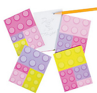 Pack of 12 - Girls Pastel Colours Brick Block Notepads - Brick Party Bag Fillers