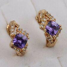 Lovely Amethyst Purple Princess Jewelry Yellow Gold Filled Huggie Earrings h2917