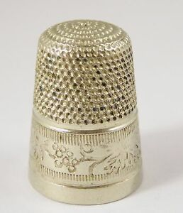 Antique Silver Plated Thimble with Embossed Decorations