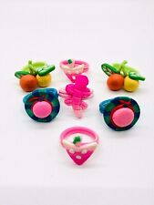 Rings Children Polymer Clay Pink Blue Green Multi Color 5 to 6.5 sizes Set 8 R60