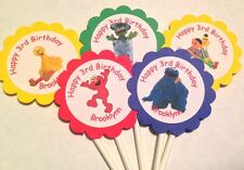 Sesame Street Elmo Big Bird Cookie Monster Customized Cupcake Toppers 12 count