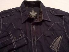 Roar Mens Medium Long Sleeve Button-Front Blue Sewn Embroidered Motorcycle Shirt