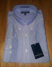 NWT DANIEL HECHTER Blue chambray L/S Dress Shirt Size 17 32/33 long sleeve