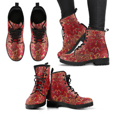 Red Peace Mandala Handcrafted Women's Booties Vegan-Friendly Leather Boots