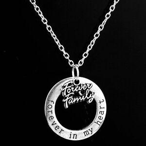 Pendant Necklace Women Charm Forever Family Family Member Word Forever My Heart