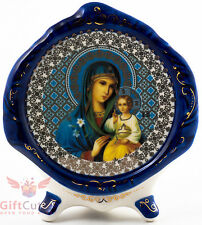 Porcelain gzhel decal plaque Icon Mother of God Unfading Color Неувядаемый цвет