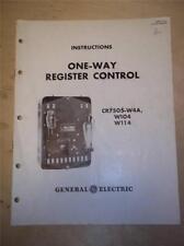 Vtg Ge General Electric Manual~One-Way Register Control Cr7505-W4A W104~1946