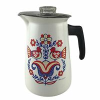 Vtg Swedish Berggren  Enamelware Coffee Pot Percolator Mid Century Folk Art U24