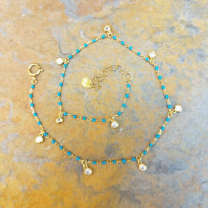 Turquoise Enamel Anklet & Ankle Bracelet in 14ct Yellow Gold Plated