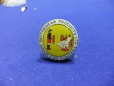 vtg badge junior fire fighters betterware products ltd  tin badge 1950s advert