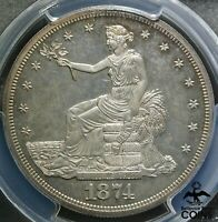 1874 United States PROOF Trade Dollar 90% Silver Coin PCGS PR63 CAM CHOICE!