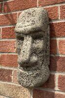 STONE GARDEN LARGE EASTER ISLAND HEAD MOAI TIKI WALL HANGER PLAQUE ORNAMENT