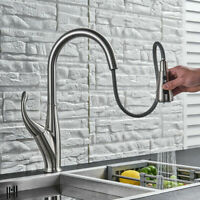 Brushed Nickel Kitchen Sink Tap Pull Down Sprayer Mixer Tap Single Handle Faucet