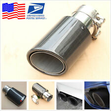 1x Real Carbon Fiber Car Exhaust Tip Pipe 63MM IN-89MM OUT Universal Muffler Tip