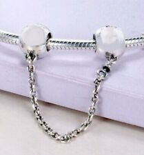 SIMPLE SILVER SIGNATURE SAFETY CHAIN  .925 Sterling Silver European Charm