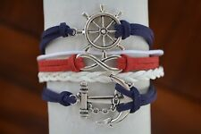 Nautical Bracelet, Patriotic Red White Blue Summer Nautical Jewelry for Women