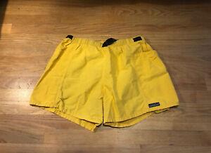 """Vintage Patagonia Men's Belted Baggies Shorts 4"""" Inseam XL Yellow"""