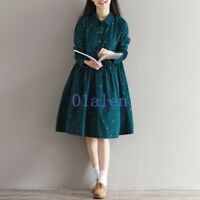 Women's Mori Girl Long Sleeve Lolita Sweet Green Vintage Loose Fit Dress Summer