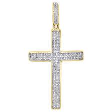 10k Yellow Gold Cross Pendant Charm Diamond Pave Set 0.25 Ct - Not Scrap