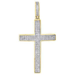 "10K Yellow Gold Real Diamond Dome Cross Pendant 1.40"" Unisex Pave Charm 0.25 CT."