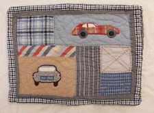 Pair (2) Pottery Barn Kids Quilted Plaid Standard Pillow Shams Vintage Cars