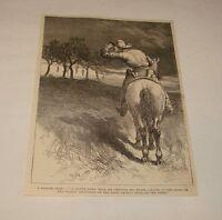 1887 magazine engraving ~ COWBOY SEES HANGING BODIES