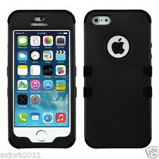 APPLE iPhone 5 5S T ARMOR HYBRID CASE SKIN COVER +SCREEN PROTECTOR BLACK