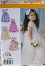 DRESS Special Occasion Wedding Simplicity Pattern 1507 NEW Size Child/Girl 4-8