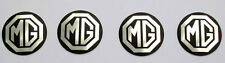 Set of 4 MGB Rostyle Wheel Centre Silver & Black Metal Badges, MG part AHH9268